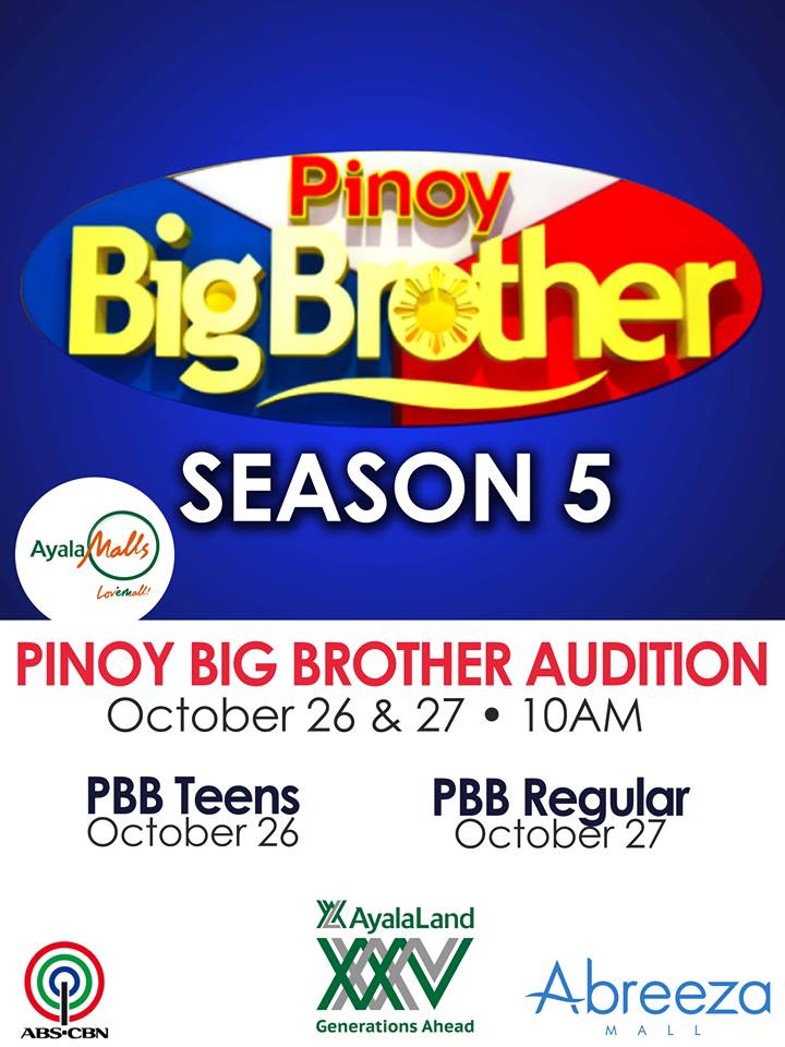 pinoy big brother abreeza Pinoy Big Brother (PBB) Season 5 Davao audition schedule, venue and requirements