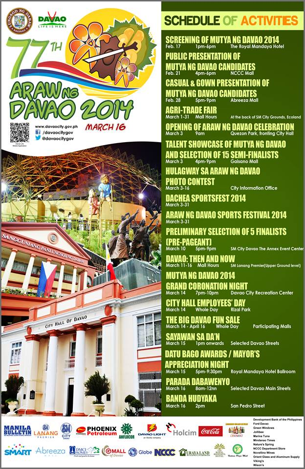 araw ng dabaw schedule of activities