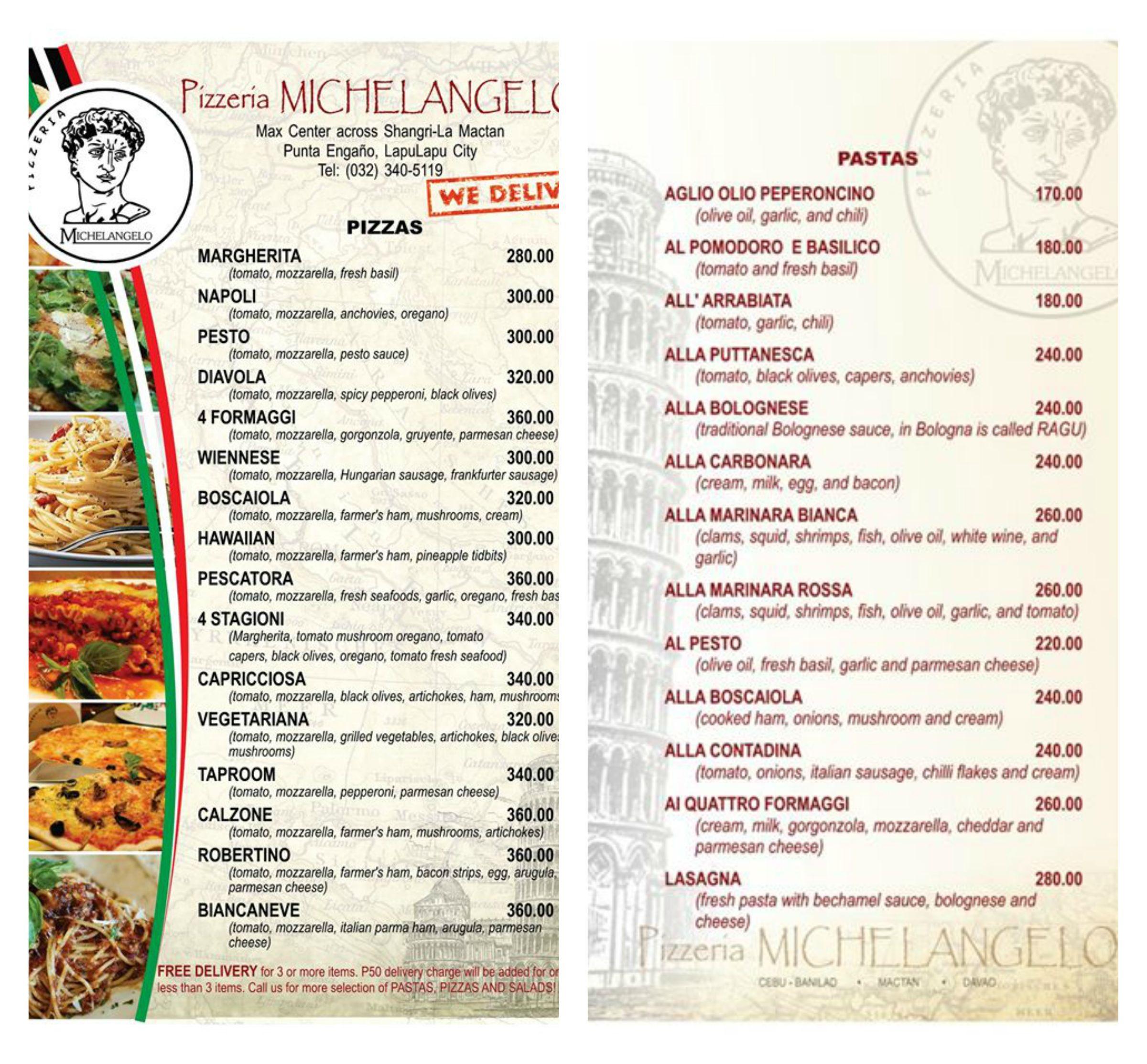 Pizzeria Michelangelo's Menu