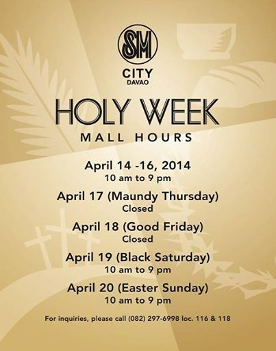 Holy Week 2014 Mall Hours in Davao