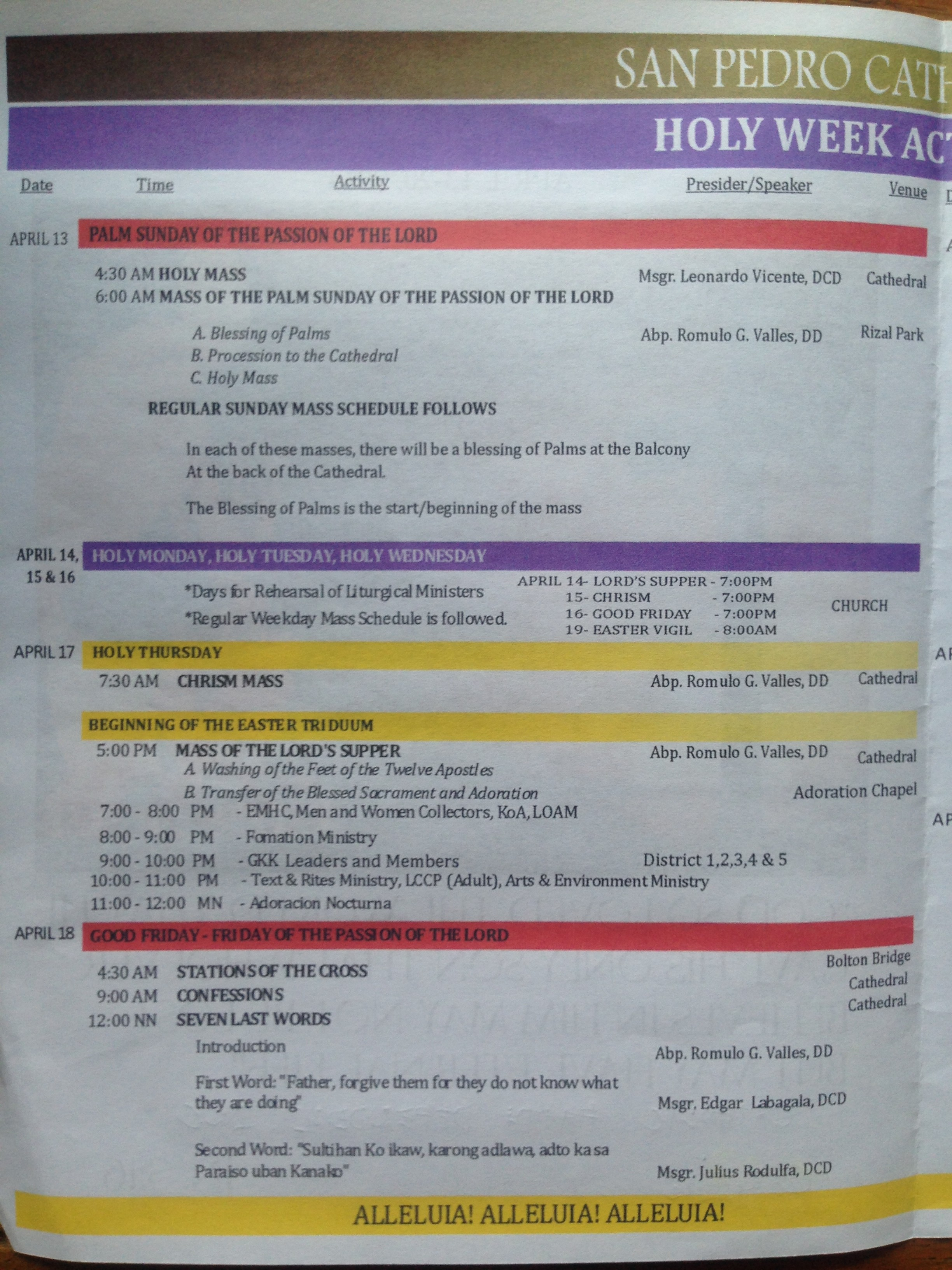 San Pedro Cathedral Holy Week 2014 Schedule 1