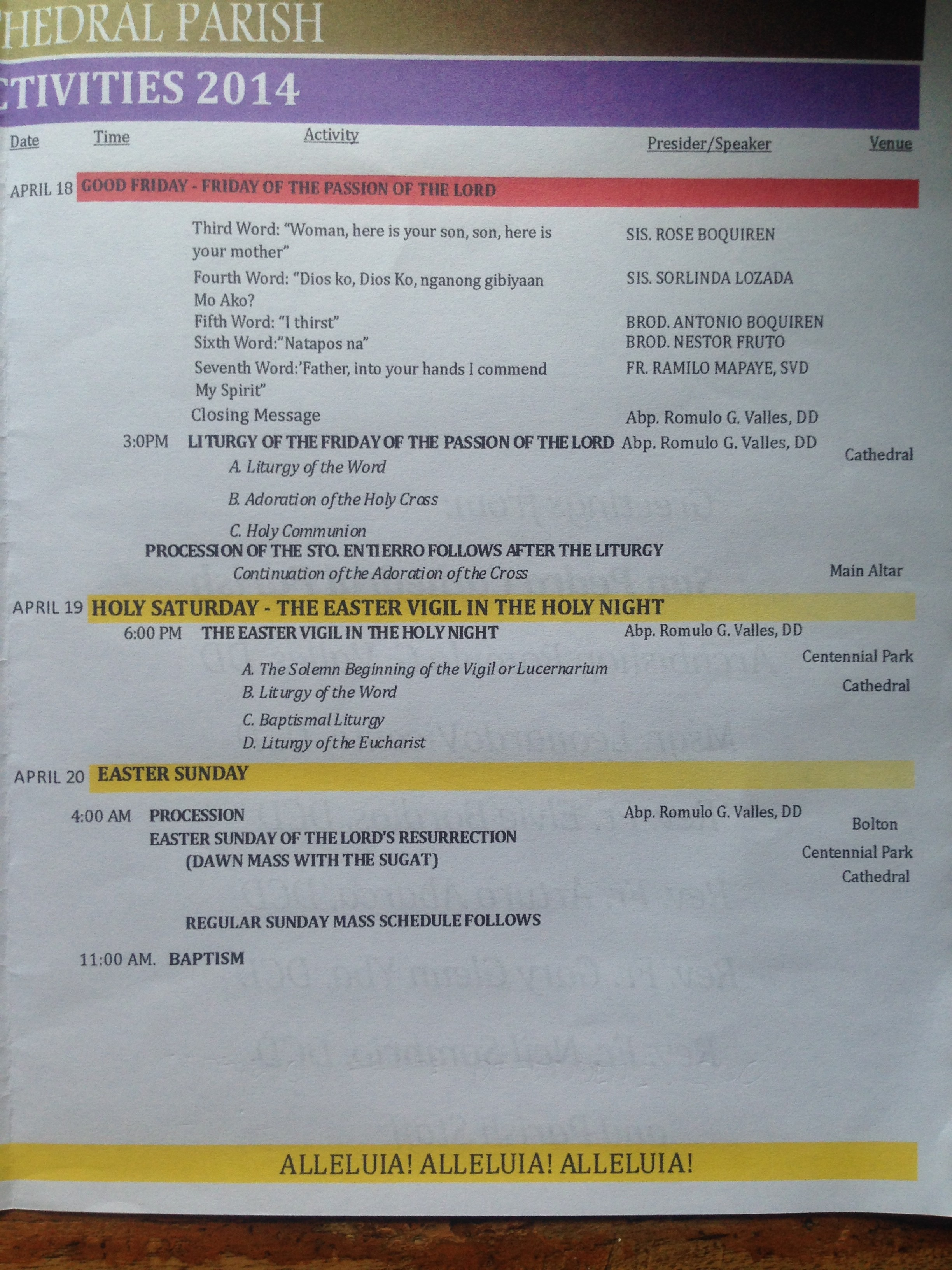 San Pedro Cathedral Holy Week 2014 Schedule 2