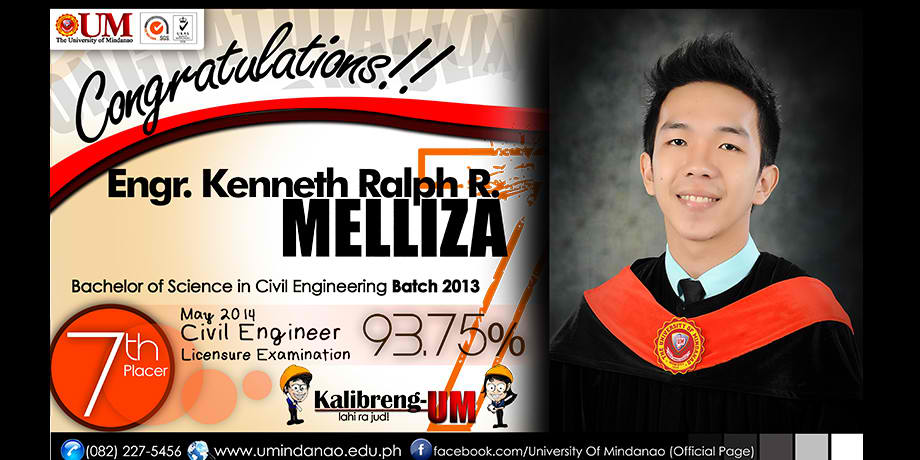 um grad kenneth ralph melliza places 7th in civil engineer licensure exam