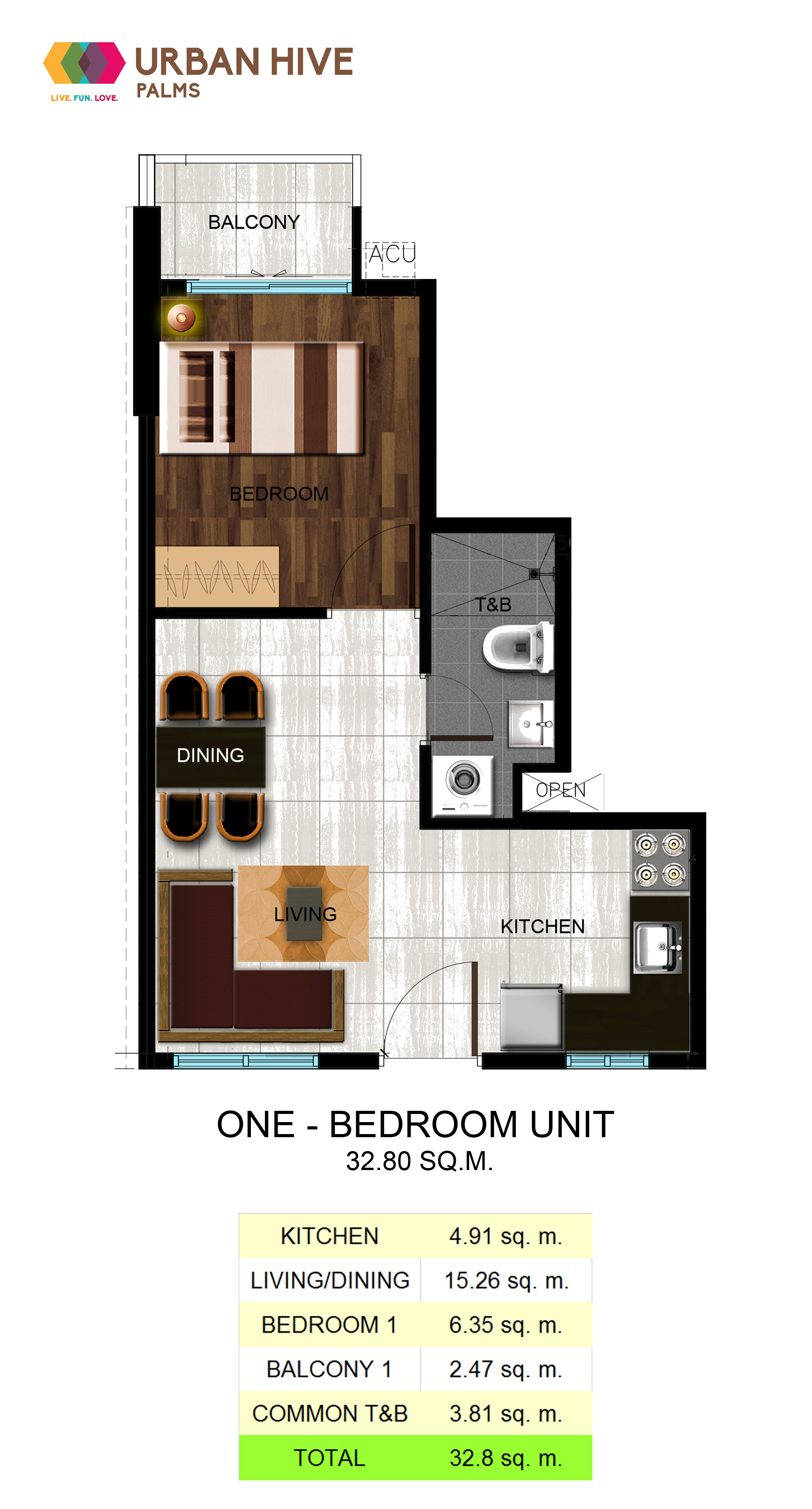 Urban Hive Palms One Bedroom Unit- 32.8 sq.m