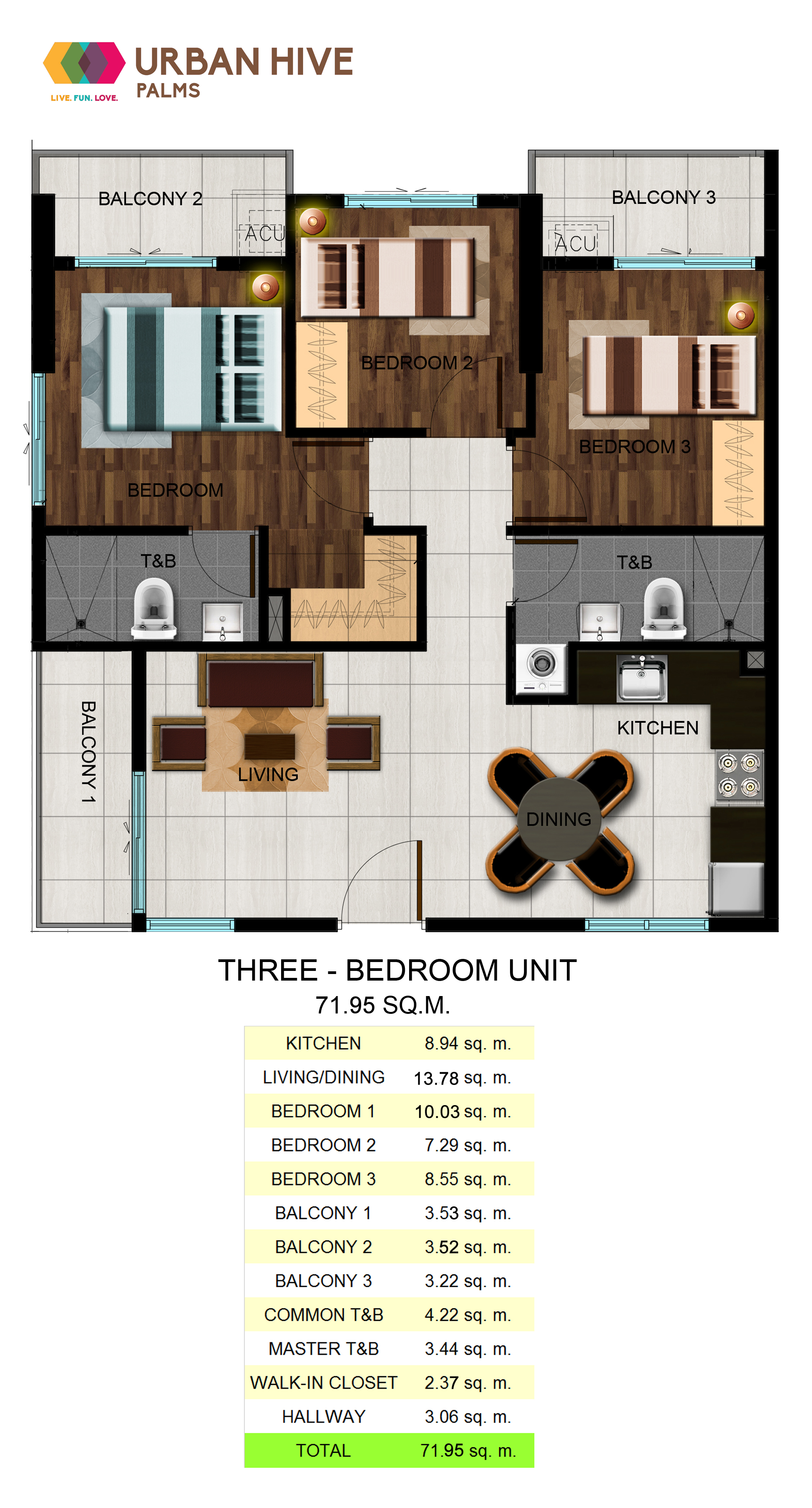 Urban Hive Palms Three Bedroom Unit - 71.95