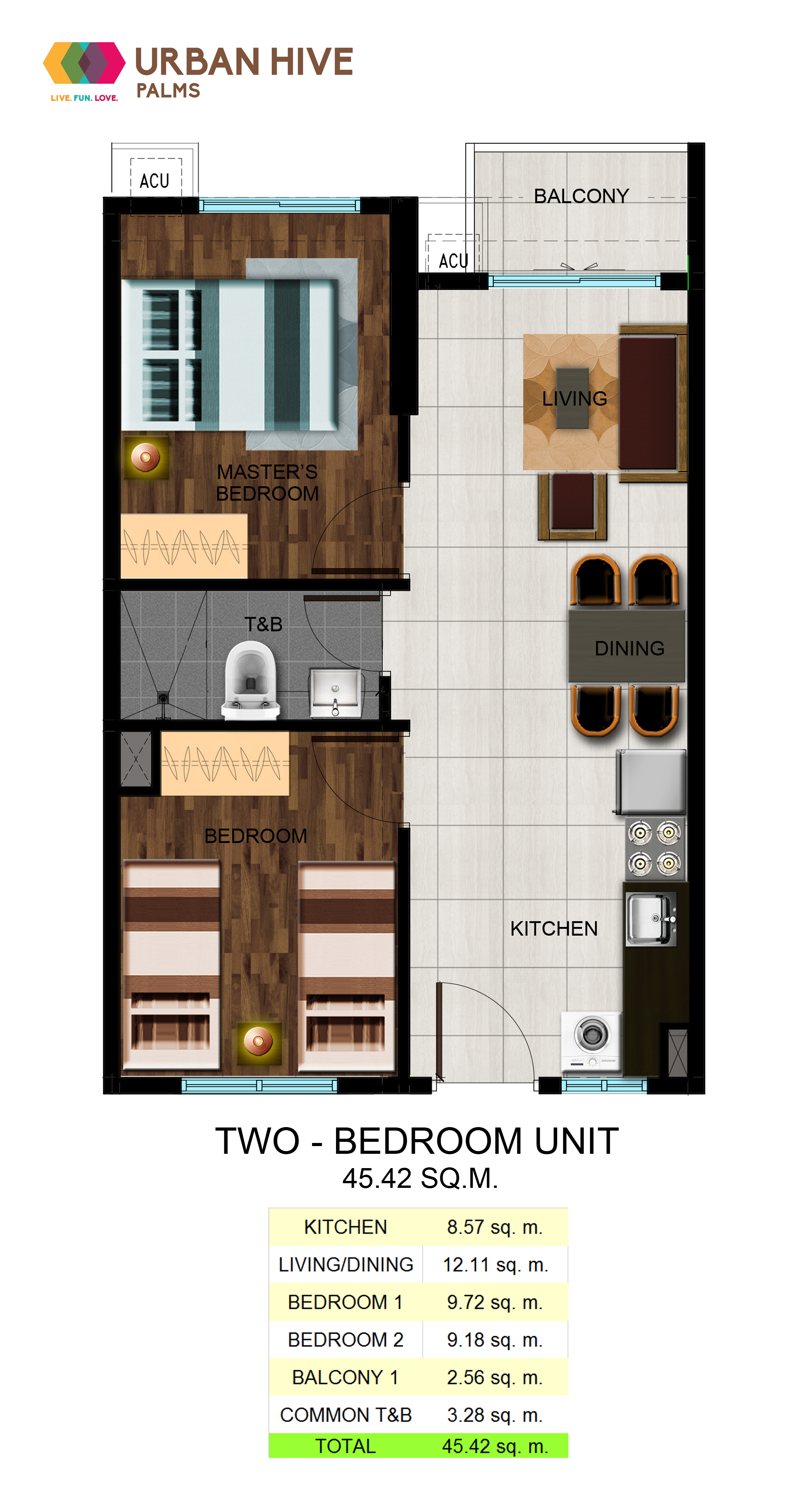 Urban Hive Palms Two Bedroom Unit- 45.42 sq.m