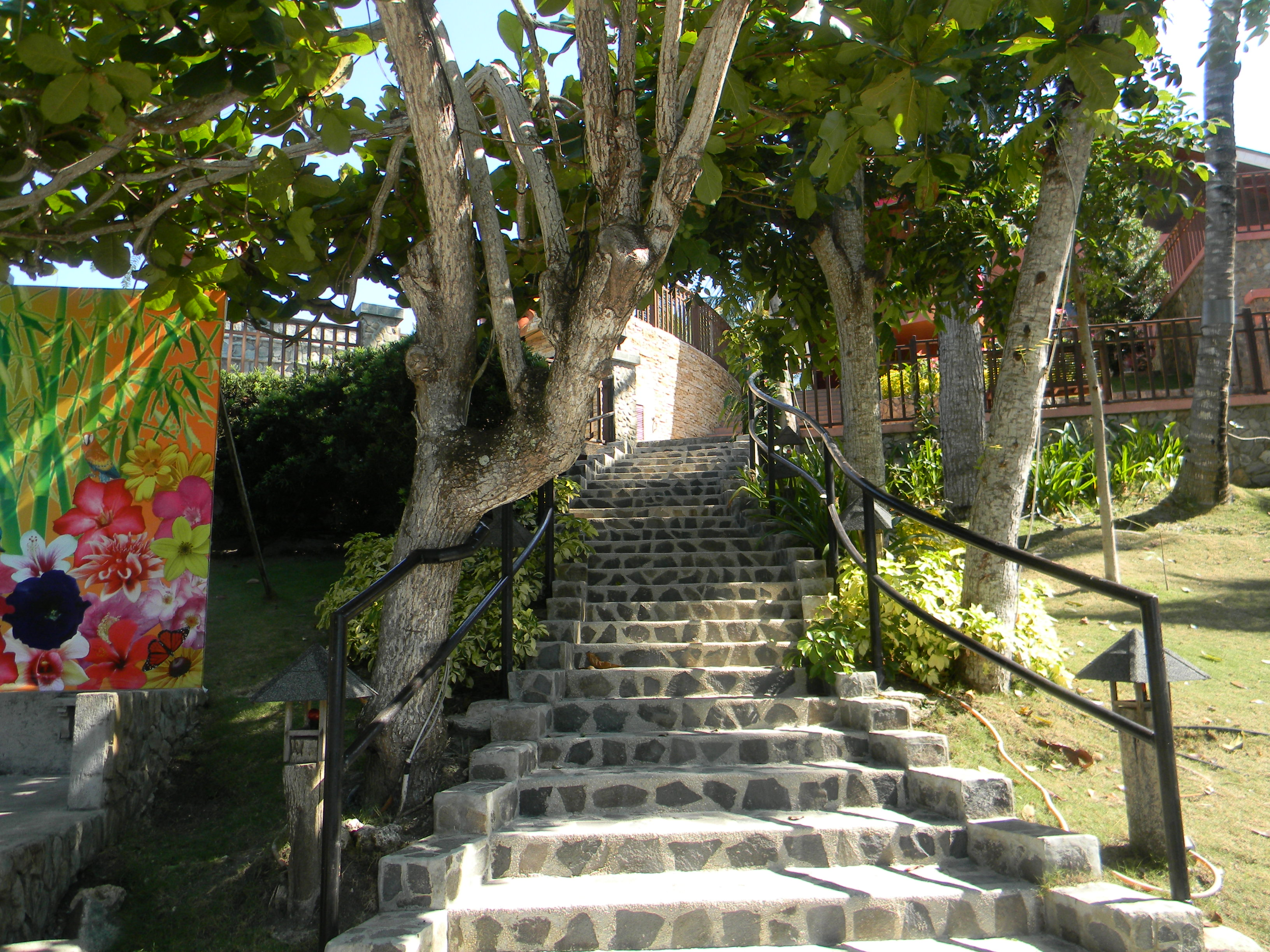 stairs to the restaurant from the beach