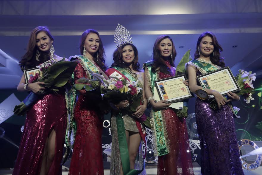 From left to right: Chariss Manuel-4th Runner-up from Barangay Mankilam, Jessel Mae Hombaya-1st Runner-up from Barangay Apokon, Jane Irish Mae Duque-Mutya ng Tagum 2015 from Barangay Magugpo North, Angelica Cajes-2nd Runner-up from Barangay La Filipina and Katrina Mae Balaga- 3rd Runner-up from Barangay Visayan Village.