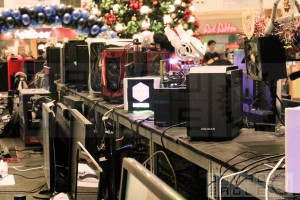A view of the gaming rigs on the left side of the display area from the stage.